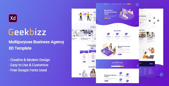 Geekbizz – Business Agency XD Template Pro